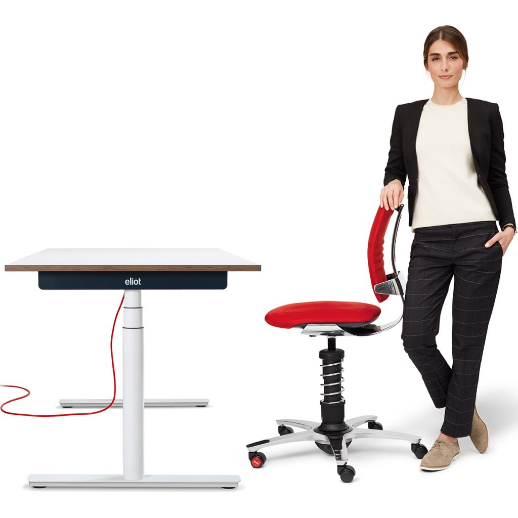 Biurko regulowane z aktywnym krzesłem design